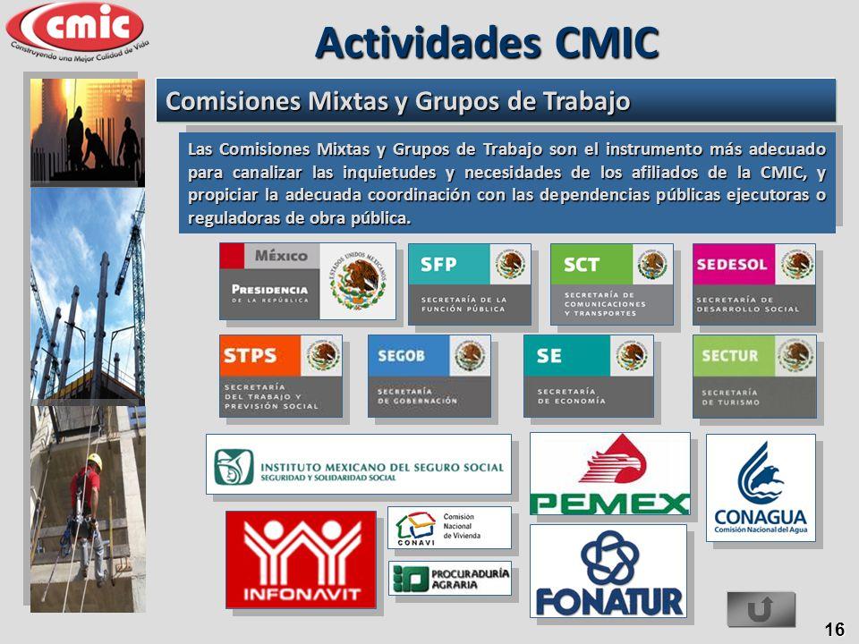 16 Las Comisiones Mixtas y Grupos de Trabajo son el instrumento más adecuado para canalizar las inquietudes y necesidades de los afiliados de la CMIC,