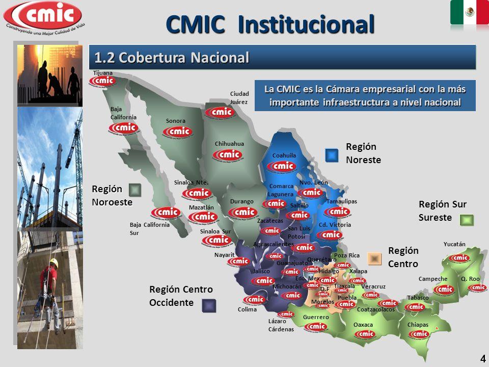 4 1.2 Cobertura Nacional CMIC Institucional Región Sur Sureste Región Centro Occidente Región Noreste Región Noroeste La CMIC es la Cámara empresarial