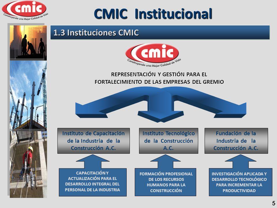5 1.3 Instituciones CMIC CMIC Institucional REPRESENTACIÓN Y GESTIÓN PARA EL FORTALECIMIENTO DE LAS EMPRESAS DEL GREMIO CAPACITACIÓN Y ACTUALIZACIÓN P