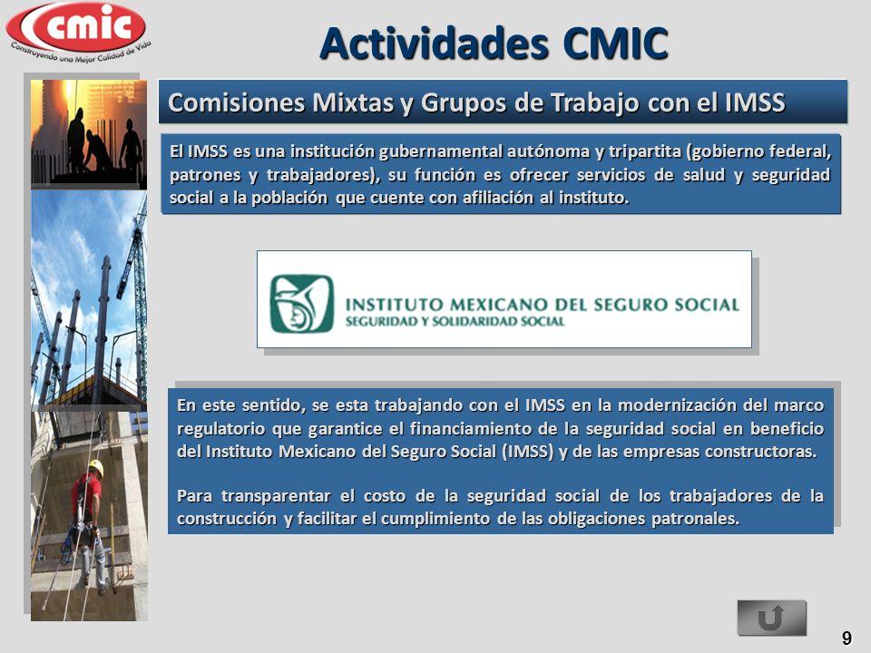 9 En este sentido, se esta trabajando con el IMSS en la modernización del marco regulatorio que garantice el financiamiento de la seguridad social en