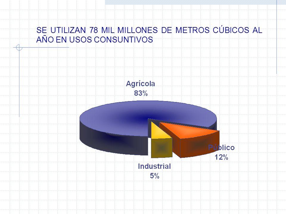 SE UTILIZAN 78 MIL MILLONES DE METROS CÚBICOS AL AÑO EN USOS CONSUNTIVOS
