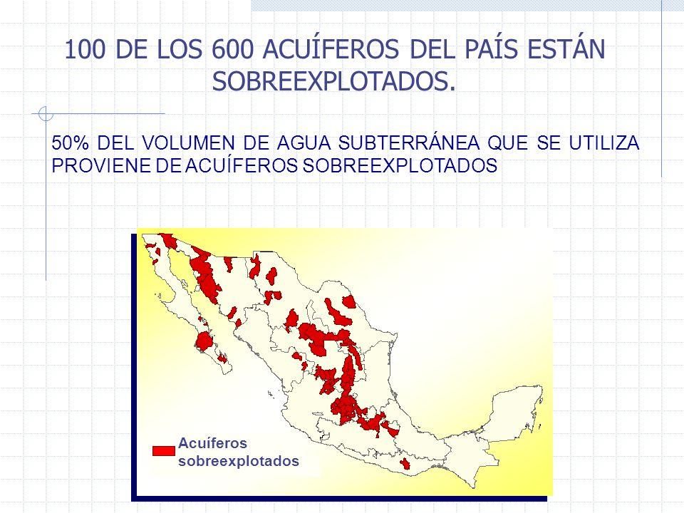 100 DE LOS 600 ACUÍFEROS DEL PAÍS ESTÁN SOBREEXPLOTADOS.