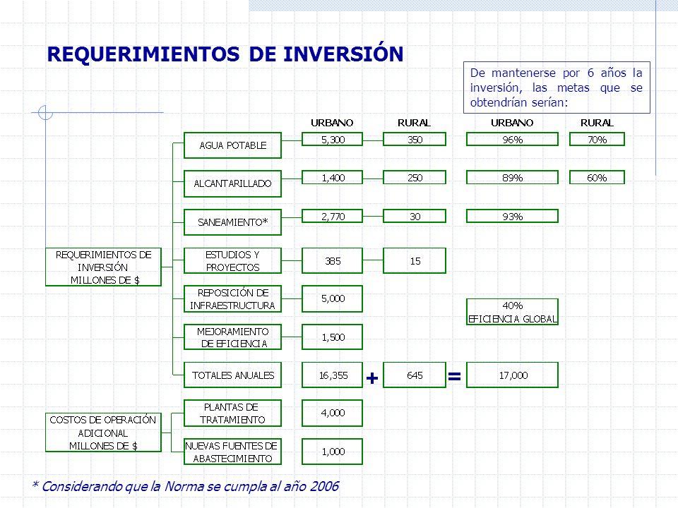 REQUERIMIENTOS DE INVERSIÓN De mantenerse por 6 años la inversión, las metas que se obtendrían serían: * Considerando que la Norma se cumpla al año 2006