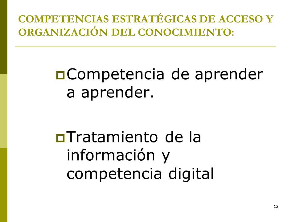 13 COMPETENCIAS ESTRATÉGICAS DE ACCESO Y ORGANIZACIÓN DEL CONOCIMIENTO: Competencia de aprender a aprender. Tratamiento de la información y competenci