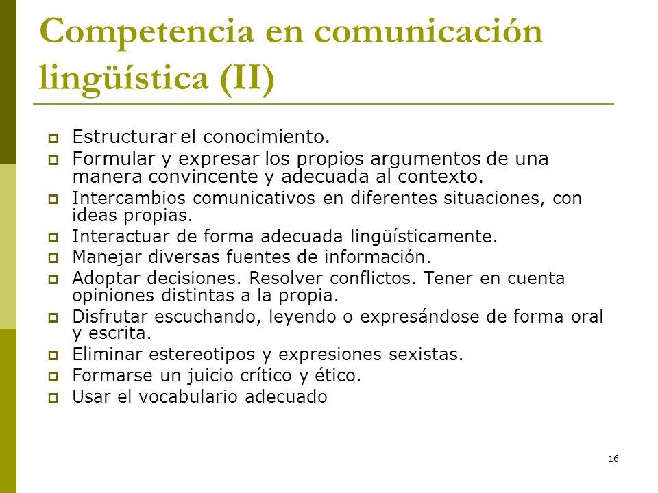 16 Competencia en comunicación lingüística (II) Estructurar el conocimiento. Formular y expresar los propios argumentos de una manera convincente y ad