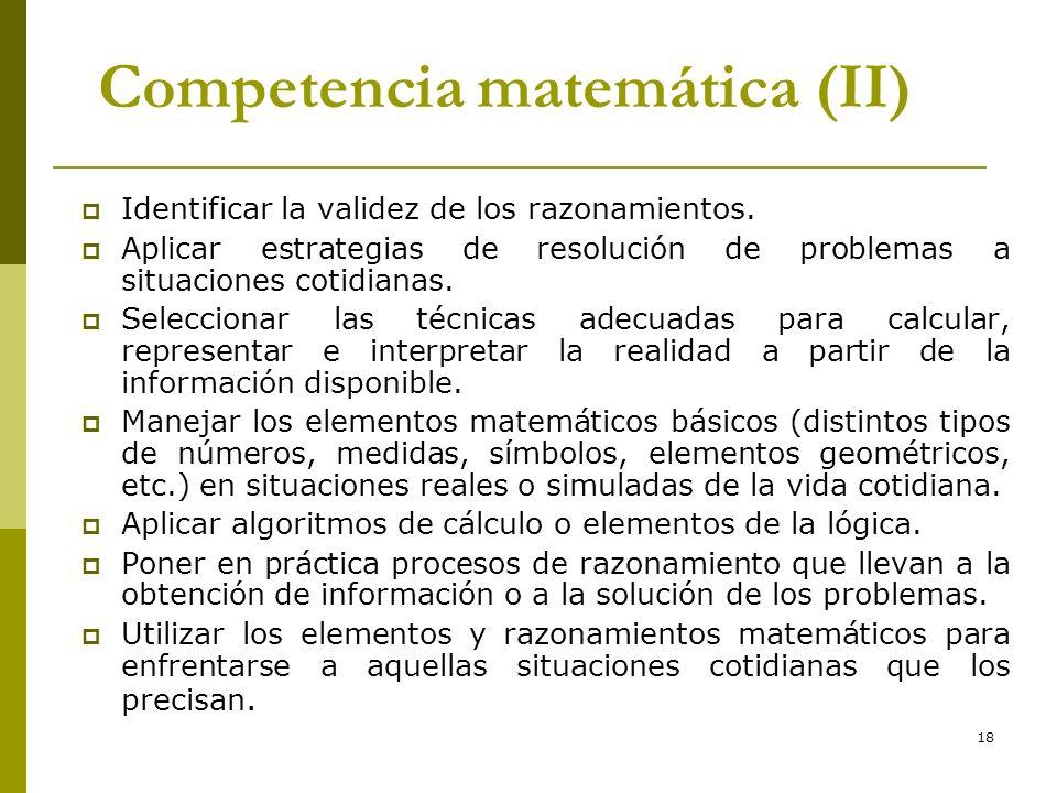 18 Competencia matemática (II) Identificar la validez de los razonamientos. Aplicar estrategias de resolución de problemas a situaciones cotidianas. S