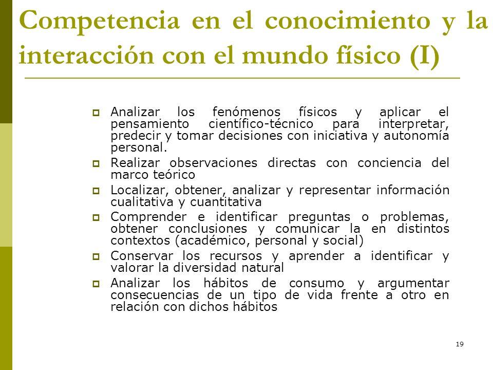 19 Competencia en el conocimiento y la interacción con el mundo físico (I) Analizar los fenómenos físicos y aplicar el pensamiento científico-técnico