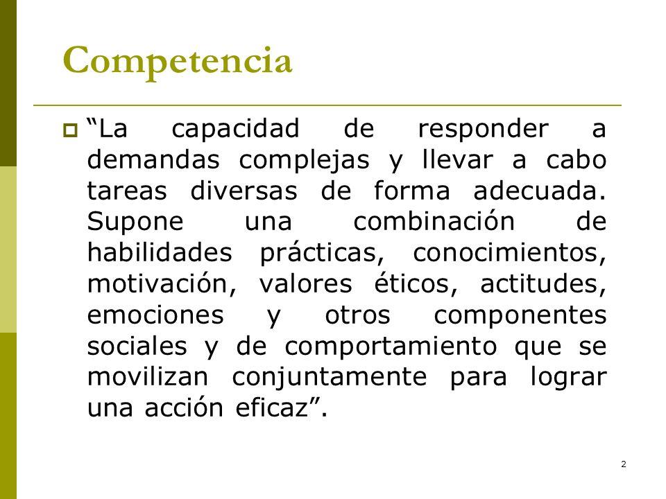2 Competencia La capacidad de responder a demandas complejas y llevar a cabo tareas diversas de forma adecuada. Supone una combinación de habilidades