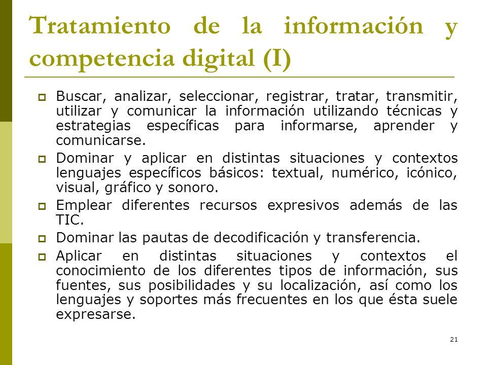 21 Tratamiento de la información y competencia digital (I) Buscar, analizar, seleccionar, registrar, tratar, transmitir, utilizar y comunicar la infor