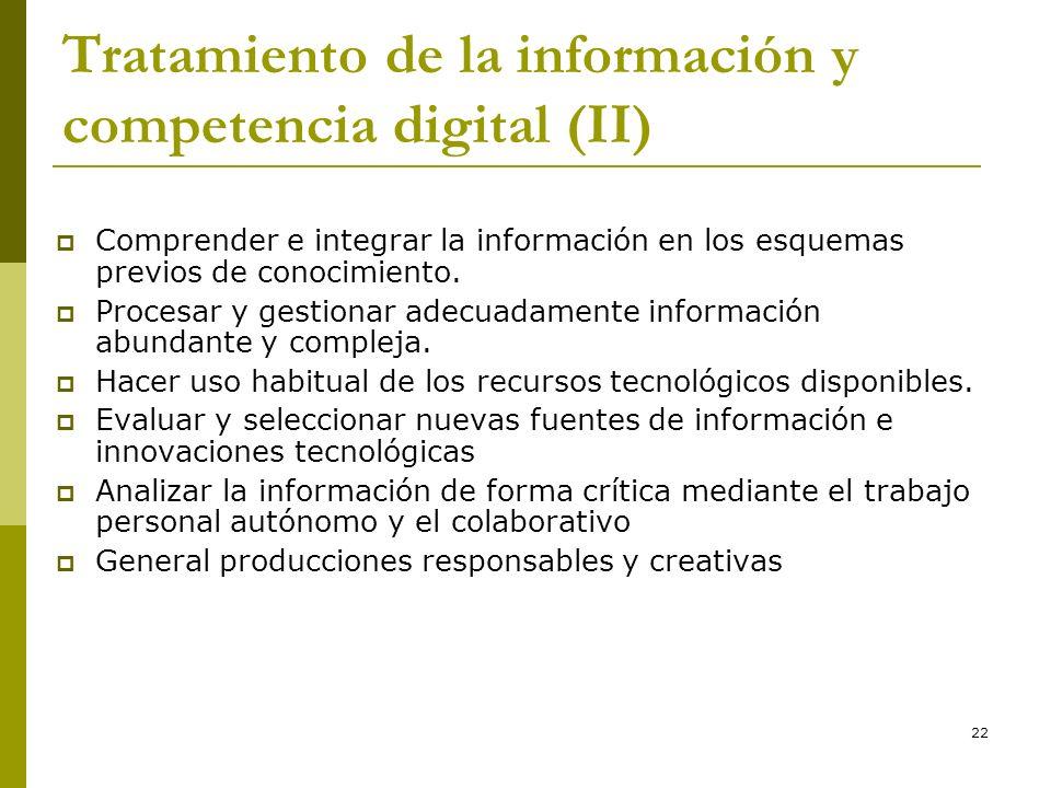 22 Tratamiento de la información y competencia digital (II) Comprender e integrar la información en los esquemas previos de conocimiento. Procesar y g
