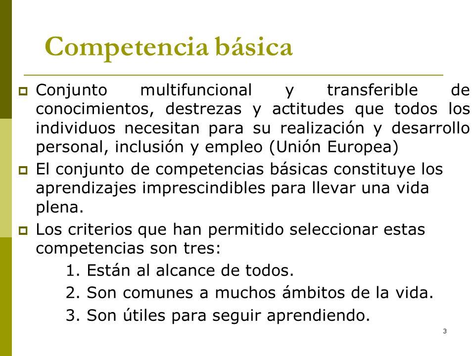 3 Competencia básica Conjunto multifuncional y transferible de conocimientos, destrezas y actitudes que todos los individuos necesitan para su realiza