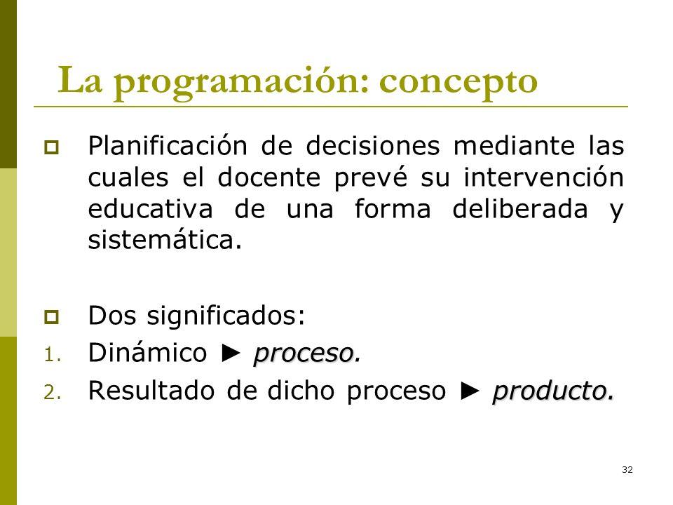 32 La programación: concepto Planificación de decisiones mediante las cuales el docente prevé su intervención educativa de una forma deliberada y sist