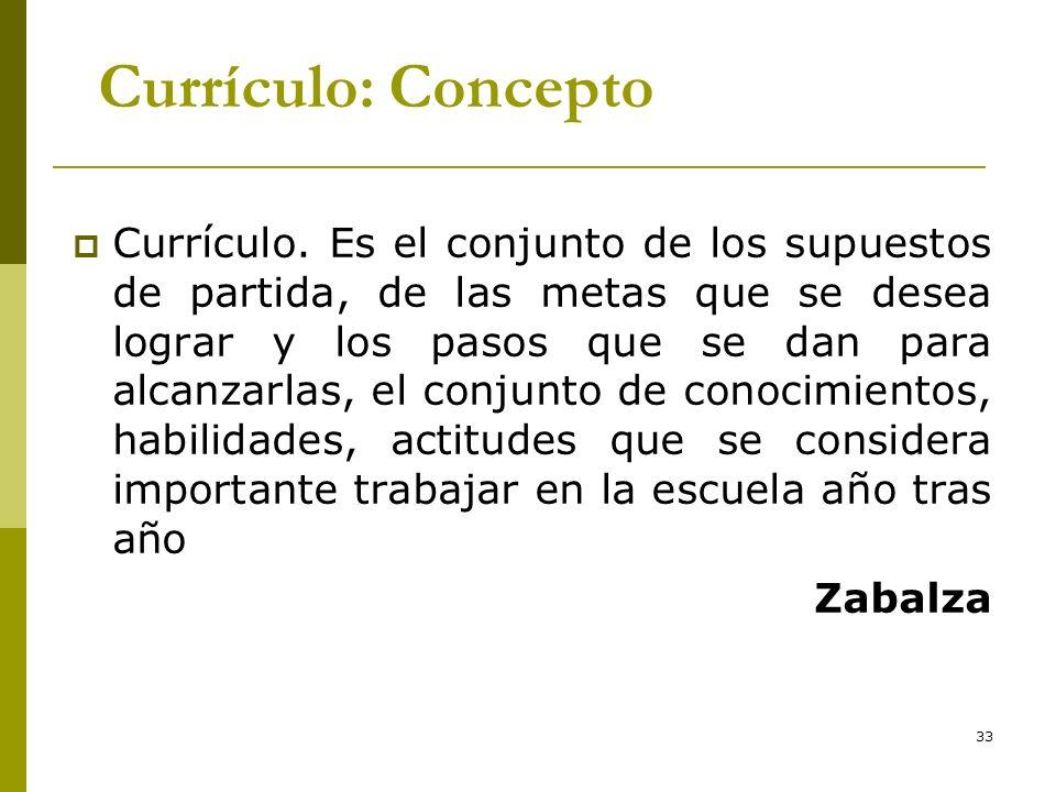 33 Currículo: Concepto Currículo. Es el conjunto de los supuestos de partida, de las metas que se desea lograr y los pasos que se dan para alcanzarlas