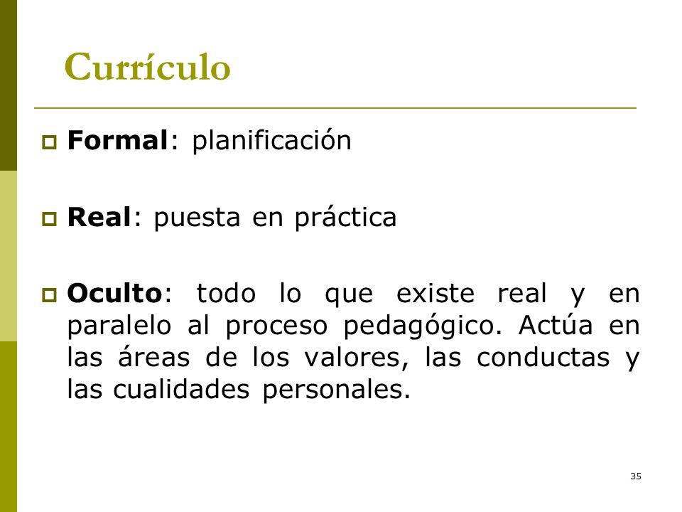 35 Currículo Formal: planificación Real: puesta en práctica Oculto: todo lo que existe real y en paralelo al proceso pedagógico. Actúa en las áreas de