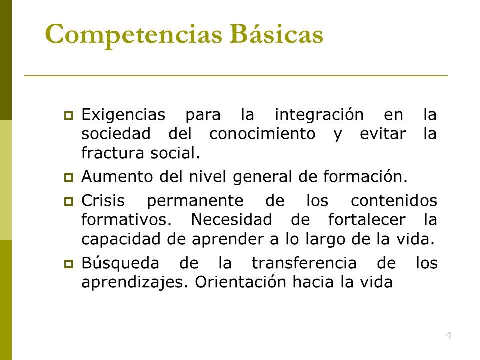 4 Competencias Básicas Exigencias para la integración en la sociedad del conocimiento y evitar la fractura social. Aumento del nivel general de formac