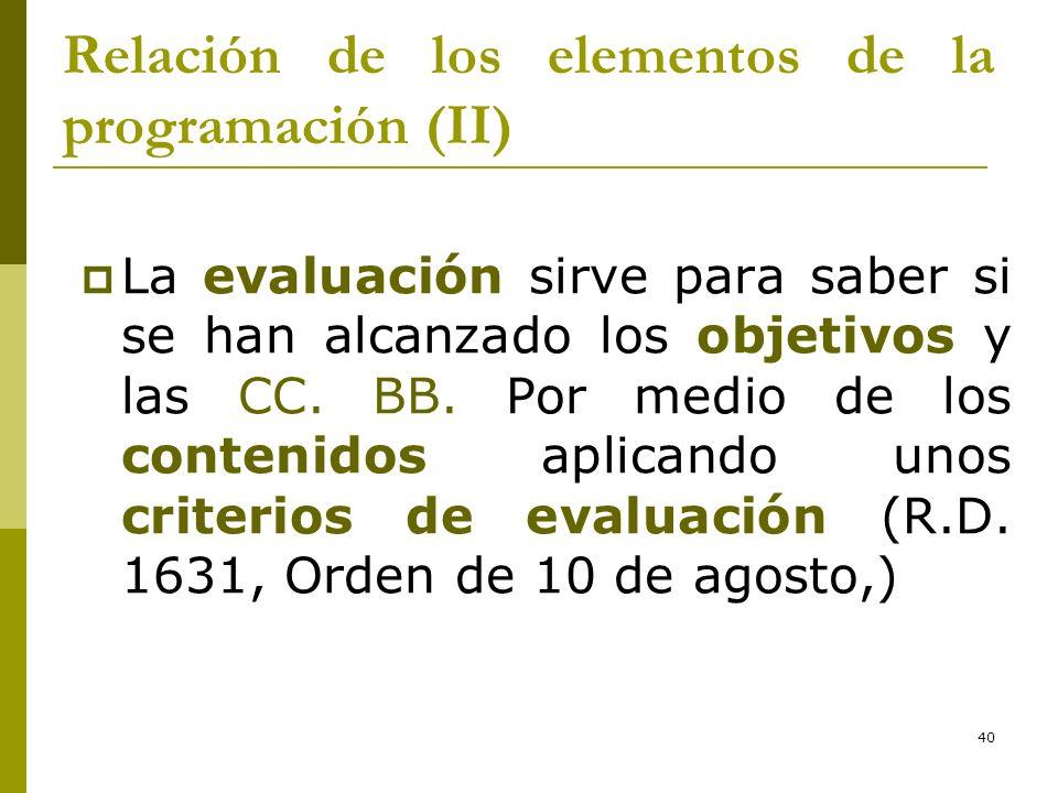 40 Relación de los elementos de la programación (II) La evaluación sirve para saber si se han alcanzado los objetivos y las CC. BB. Por medio de los c