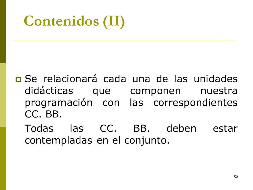 50 Contenidos (II) Se relacionará cada una de las unidades didácticas que componen nuestra programación con las correspondientes CC. BB. Todas las CC.