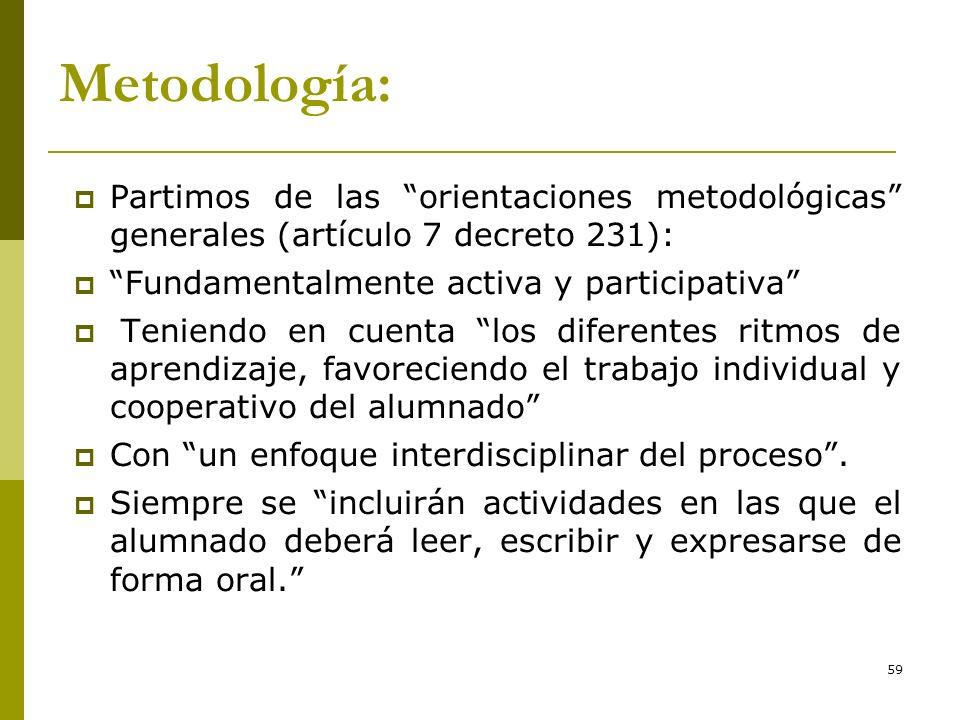 59 Metodología: Partimos de las orientaciones metodológicas generales (artículo 7 decreto 231): Fundamentalmente activa y participativa Teniendo en cu