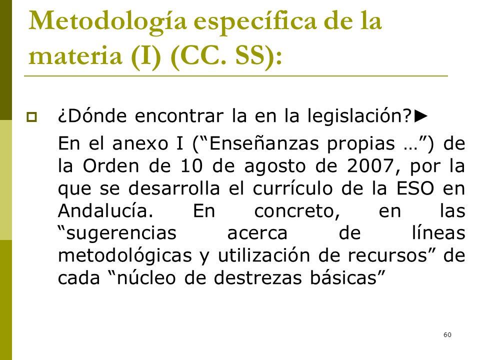 60 Metodología específica de la materia (I) (CC. SS): ¿Dónde encontrar la en la legislación? En el anexo I (Enseñanzas propias …) de la Orden de 10 de