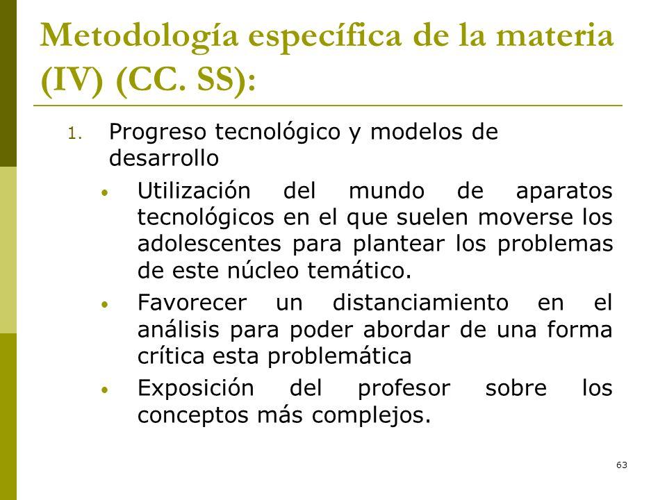 63 Metodología específica de la materia (IV) (CC. SS): 1. Progreso tecnológico y modelos de desarrollo Utilización del mundo de aparatos tecnológicos