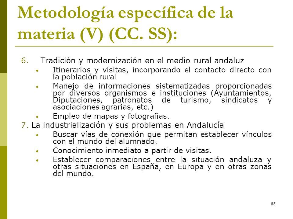 65 Metodología específica de la materia (V) (CC. SS): 6. Tradición y modernización en el medio rural andaluz Itinerarios y visitas, incorporando el co
