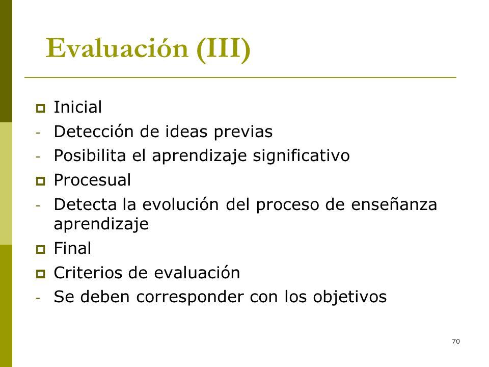 70 Evaluación (III) Inicial - Detección de ideas previas - Posibilita el aprendizaje significativo Procesual - Detecta la evolución del proceso de ens