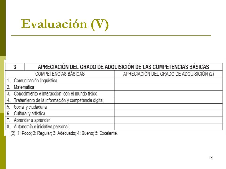72 Evaluación (V)