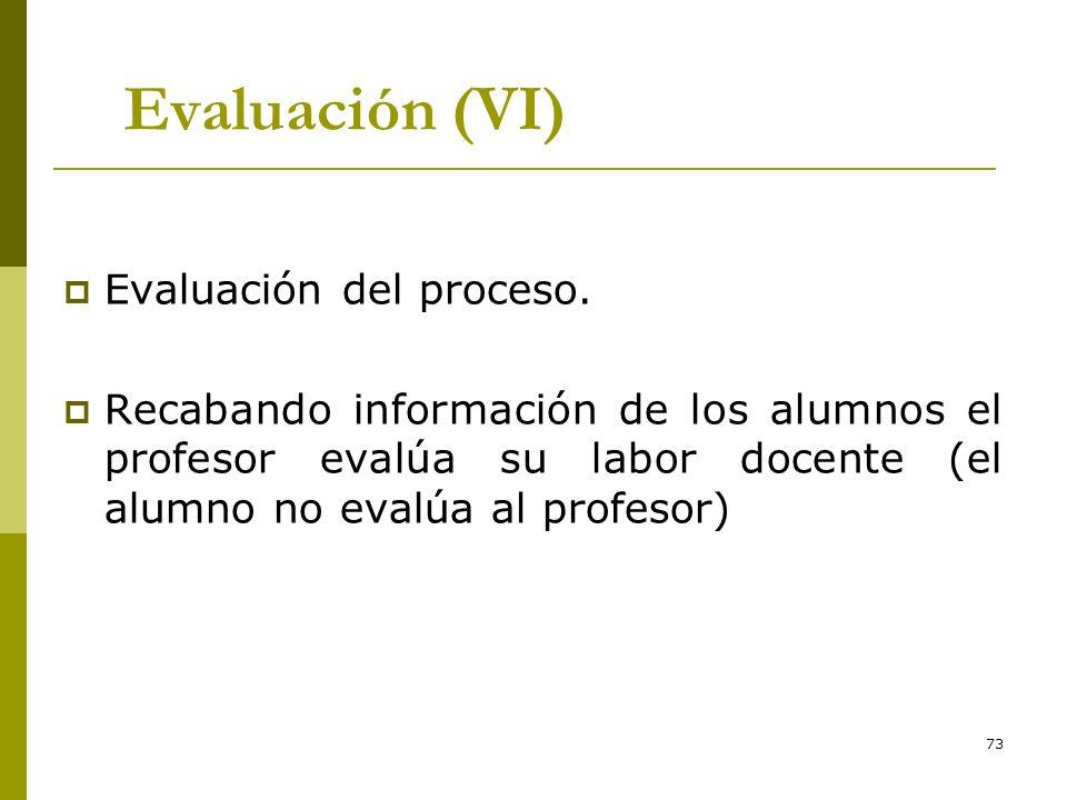 73 Evaluación (VI) Evaluación del proceso. Recabando información de los alumnos el profesor evalúa su labor docente (el alumno no evalúa al profesor)