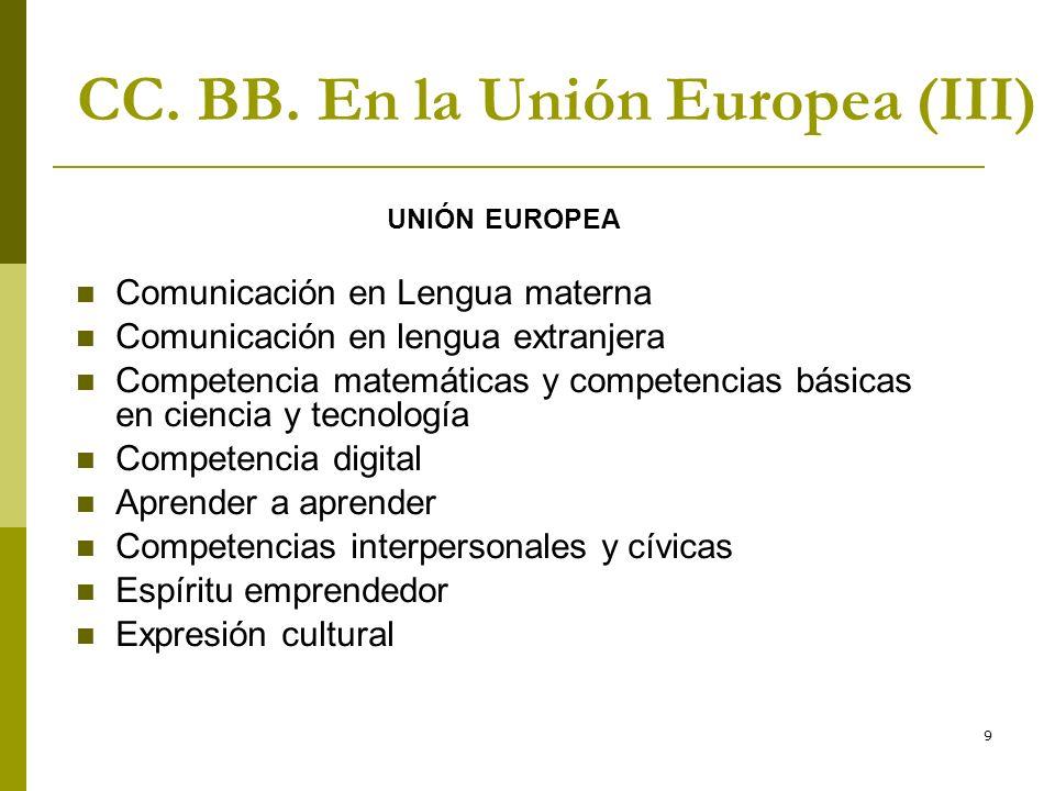 9 CC. BB. En la Unión Europea (III) UNIÓN EUROPEA Comunicación en Lengua materna Comunicación en lengua extranjera Competencia matemáticas y competenc
