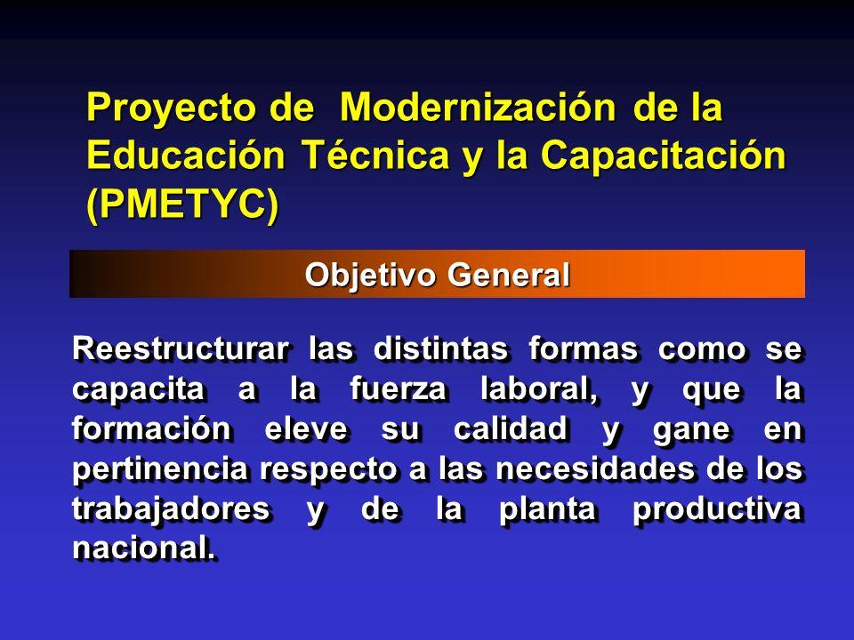 Proyecto de Modernización de la Educación Técnica y la Capacitación (PMETYC) Objetivo General Reestructurar las distintas formas como se capacita a la