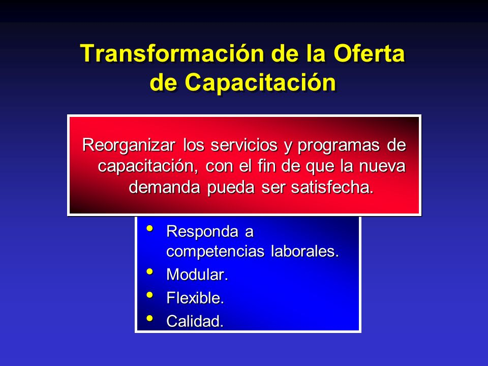 Transformación de la Oferta de Capacitación Responda a competencias laborales. Responda a competencias laborales. Modular. Modular. Flexible. Flexible