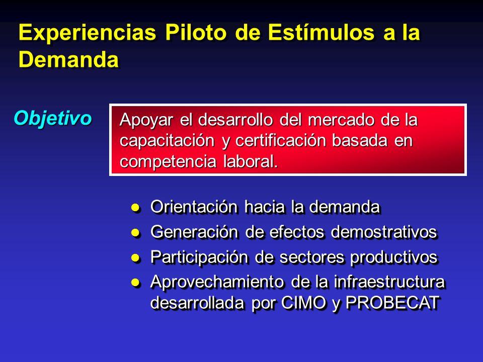 Experiencias Piloto de Estímulos a la Demanda Objetivo l Orientación hacia la demanda l Generación de efectos demostrativos l Participación de sectore