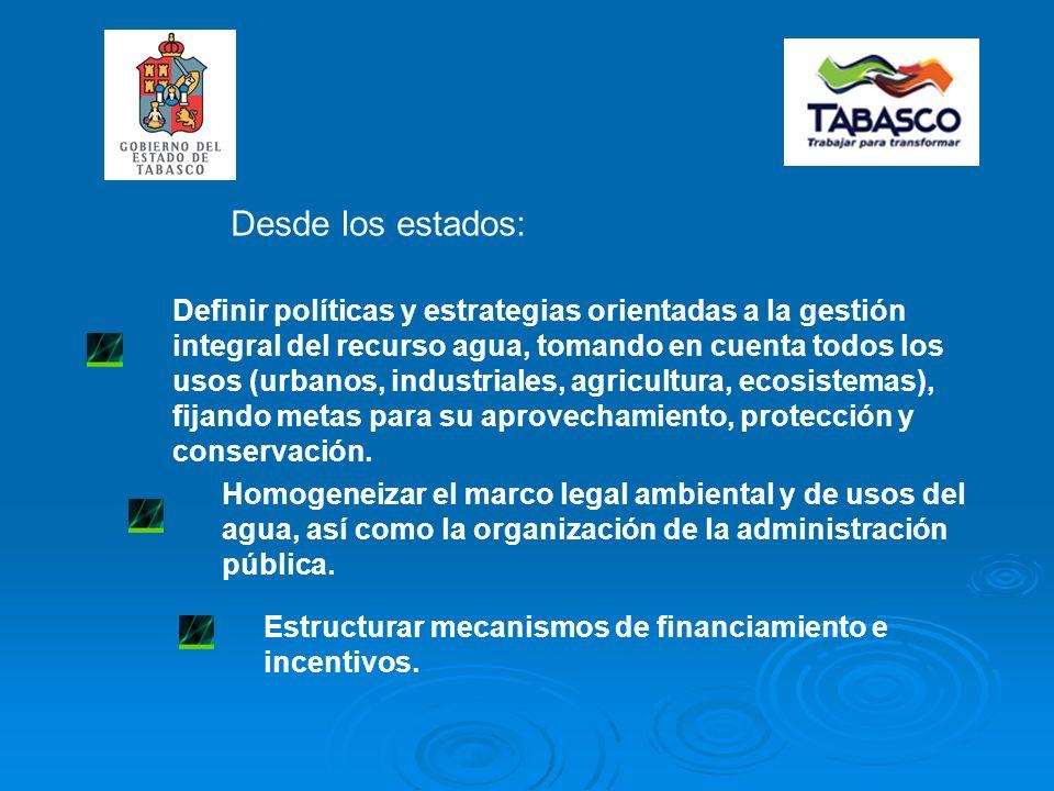Definir políticas y estrategias orientadas a la gestión integral del recurso agua, tomando en cuenta todos los usos (urbanos, industriales, agricultura, ecosistemas), fijando metas para su aprovechamiento, protección y conservación.