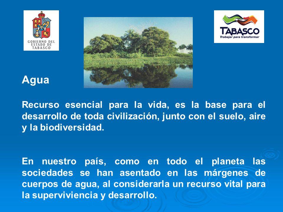 Agua Recurso esencial para la vida, es la base para el desarrollo de toda civilización, junto con el suelo, aire y la biodiversidad.