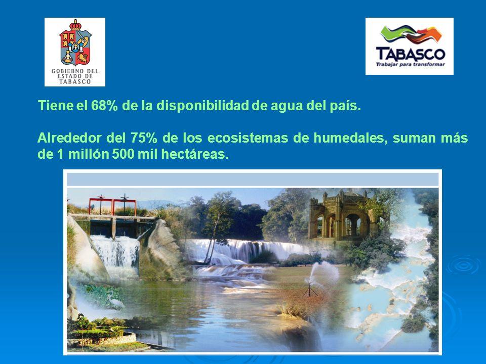 Tiene el 68% de la disponibilidad de agua del país.