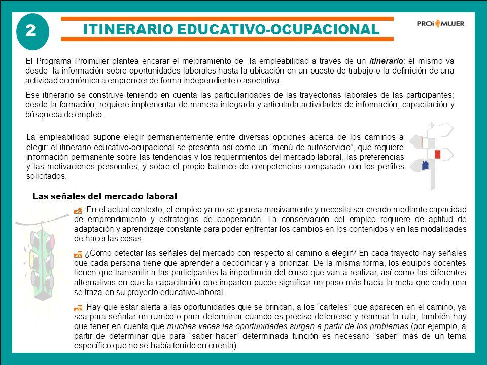 ITINERARIO EDUCATIVO-OCUPACIONAL El Programa Proimujer plantea encarar el mejoramiento de la empleabilidad a través de un itinerario: el mismo va desd