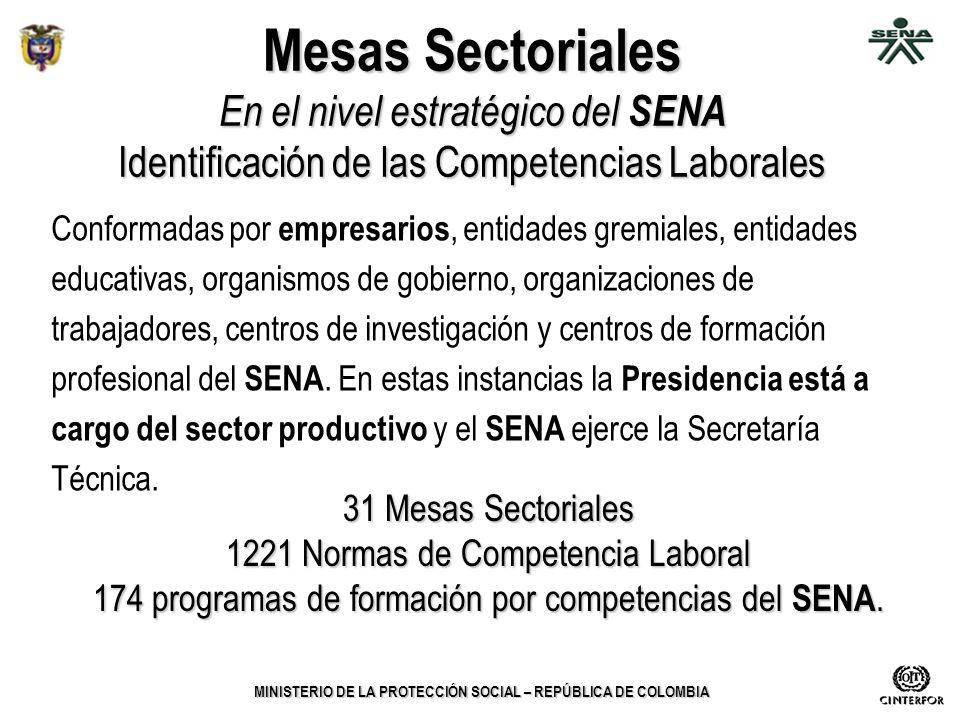 MINISTERIO DE LA PROTECCIÓN SOCIAL – REPÚBLICA DE COLOMBIA Mesas Sectoriales En el nivel estratégico del SENA Identificación de las Competencias Labor