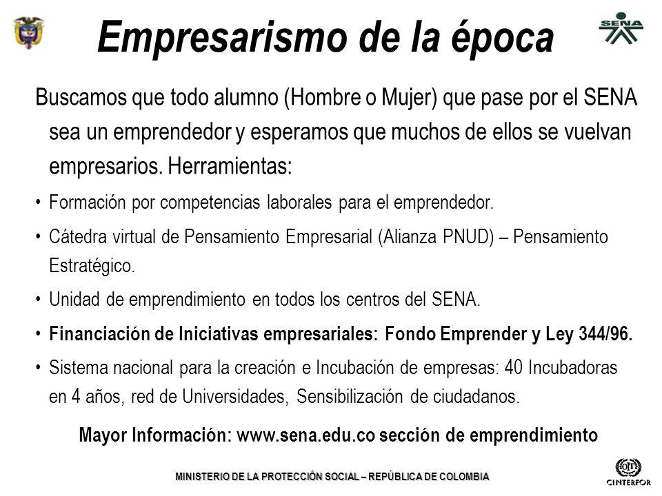 MINISTERIO DE LA PROTECCIÓN SOCIAL – REPÚBLICA DE COLOMBIA Empresarismo de la época Buscamos que todo alumno (Hombre o Mujer) que pase por el SENA sea