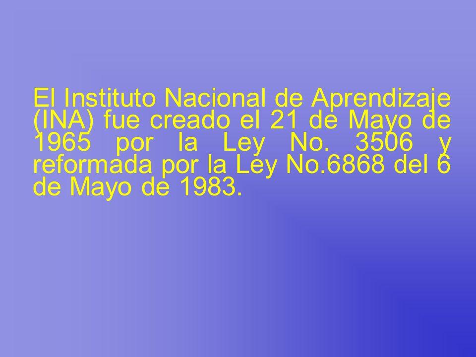 El Instituto Nacional de Aprendizaje (INA) fue creado el 21 de Mayo de 1965 por la Ley No. 3506 y reformada por la Ley No.6868 del 6 de Mayo de 1983.
