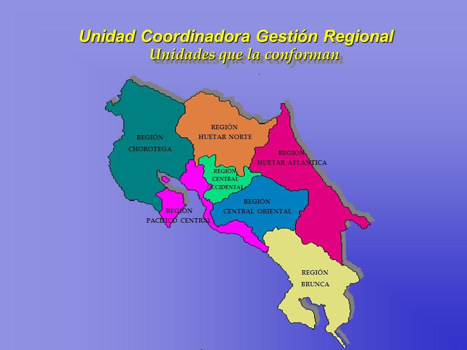 REGIÓN CHOROTEGA REGIÓN HUETAR NORTE REGIÓN CENTRAL ORIENTAL REGIÓN BRUNCA REGIÓN HUETAR ATLÁNTICA REGIÓN PACÍFICO CENTRAL REGIÓN CENTRAL OCCIDENTAL U