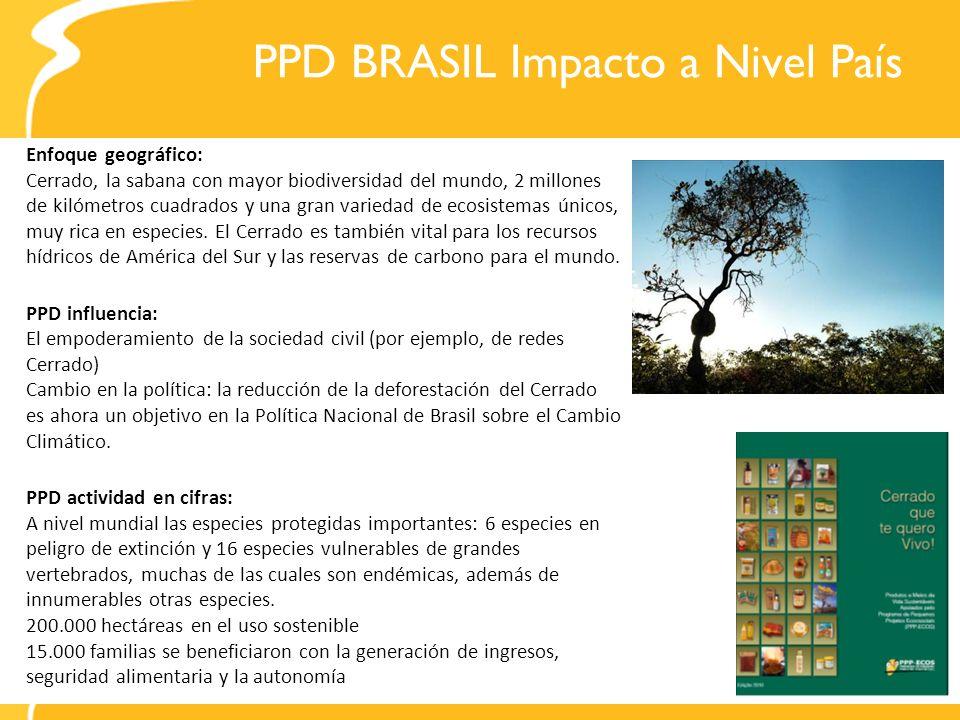 PPD BRASIL Impacto a Nivel País Enfoque geográfico: Cerrado, la sabana con mayor biodiversidad del mundo, 2 millones de kilómetros cuadrados y una gra