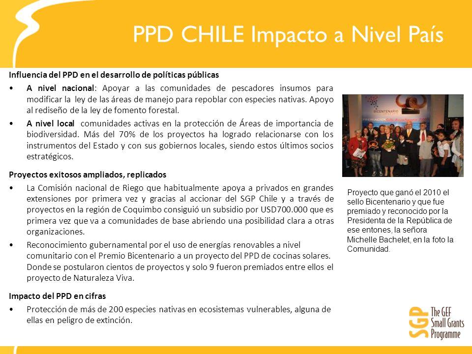 PPD CHILE Impacto a Nivel País Influencia del PPD en el desarrollo de políticas públicas A nivel nacional: Apoyar a las comunidades de pescadores insu