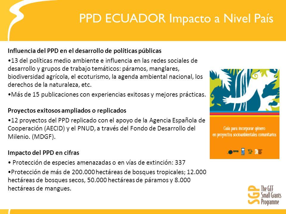 PPD ECUADOR Impacto a Nivel País Influencia del PPD en el desarrollo de políticas públicas 13 del políticas medio ambiente e influencia en las redes s