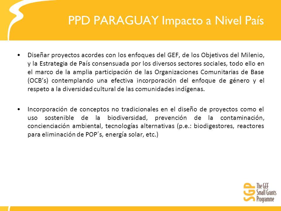 PPD PARAGUAY Impacto a Nivel País Diseñar proyectos acordes con los enfoques del GEF, de los Objetivos del Milenio, y la Estrategia de País consensuad