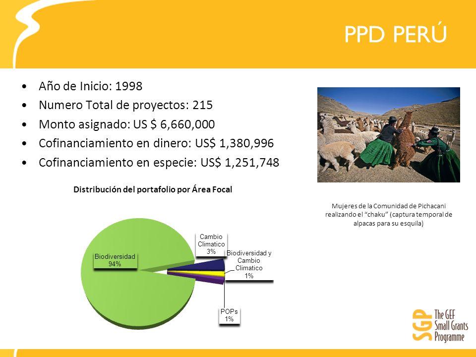 PPD PERÚ Año de Inicio: 1998 Numero Total de proyectos: 215 Monto asignado: US $ 6,660,000 Cofinanciamiento en dinero: US$ 1,380,996 Cofinanciamiento