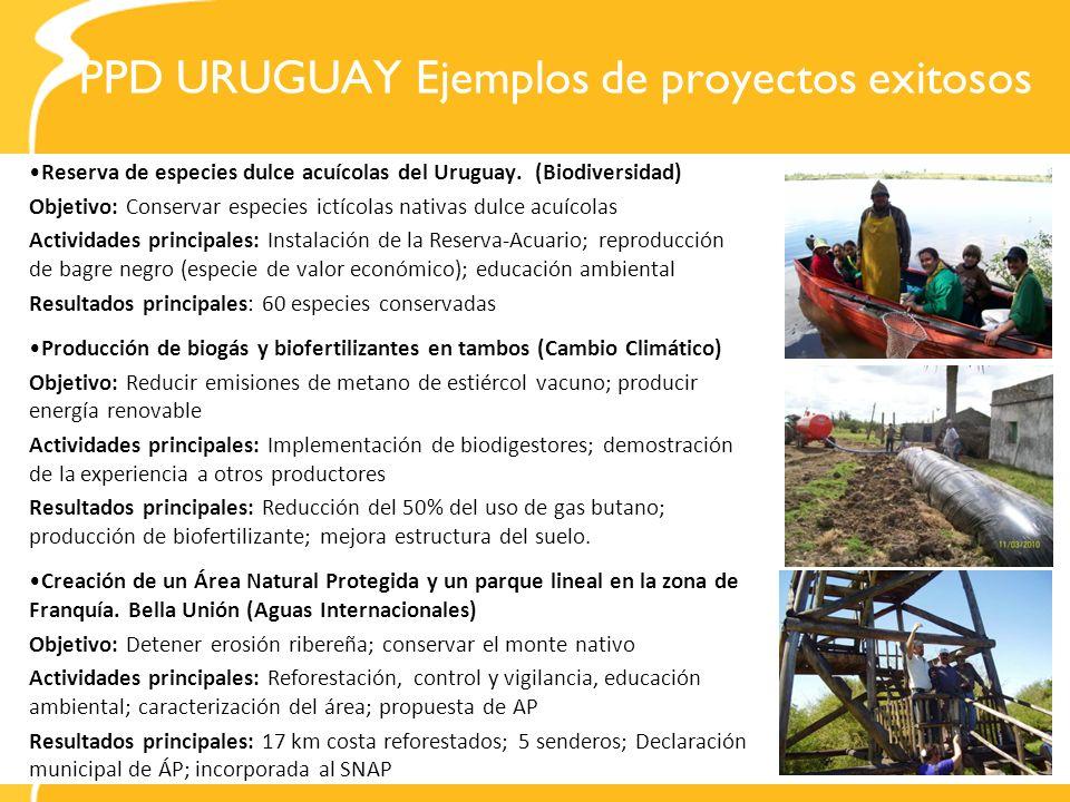 PPD URUGUAY Ejemplos de proyectos exitosos Reserva de especies dulce acuícolas del Uruguay. (Biodiversidad) Objetivo: Conservar especies ictícolas nat