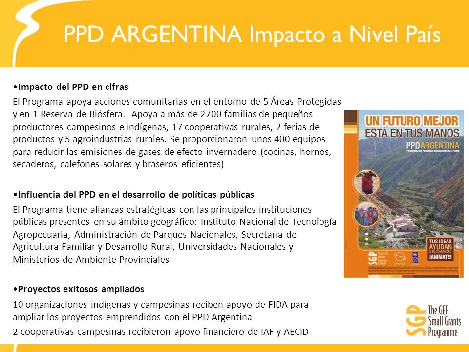 PPD ARGENTINA Impacto a Nivel País Impacto del PPD en cifras El Programa apoya acciones comunitarias en el entorno de 5 Áreas Protegidas y en 1 Reserv