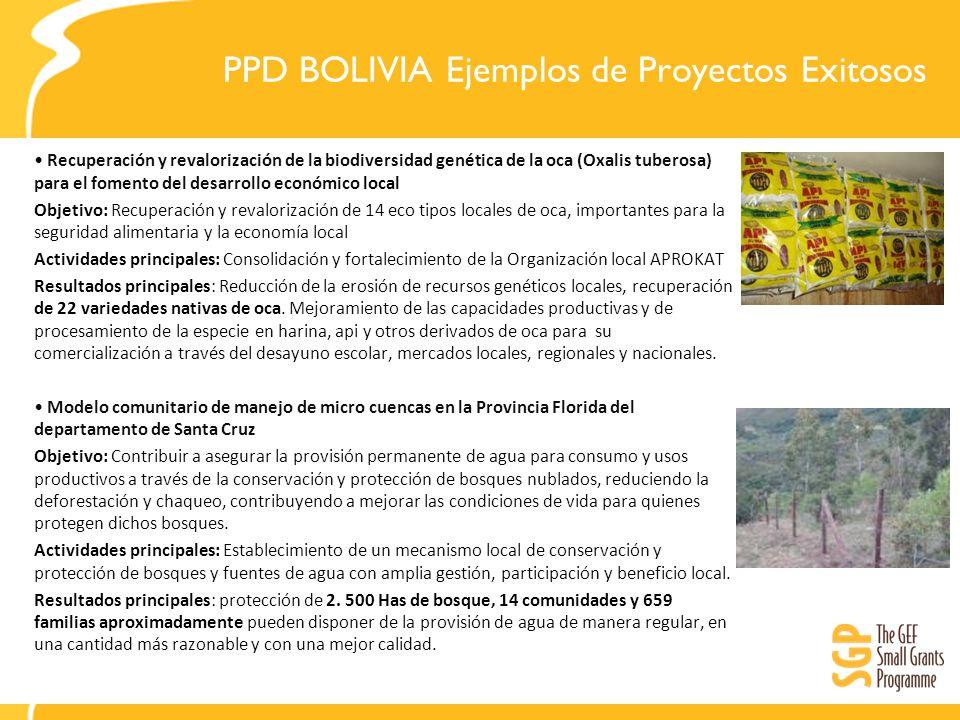 PPD BOLIVIA Ejemplos de Proyectos Exitosos Recuperación y revalorización de la biodiversidad genética de la oca (Oxalis tuberosa) para el fomento del