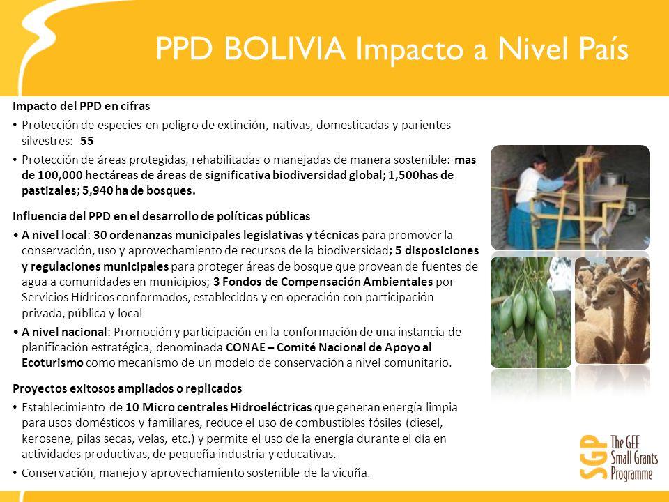 PPD BOLIVIA Impacto a Nivel País Impacto del PPD en cifras Protección de especies en peligro de extinción, nativas, domesticadas y parientes silvestre