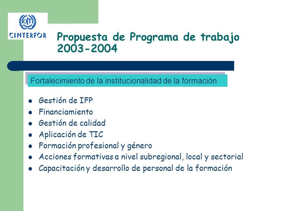 Propuesta de Programa de trabajo 2003-2004 Gestión de IFP Financiamiento Gestión de calidad Aplicación de TIC Formación profesional y género Acciones